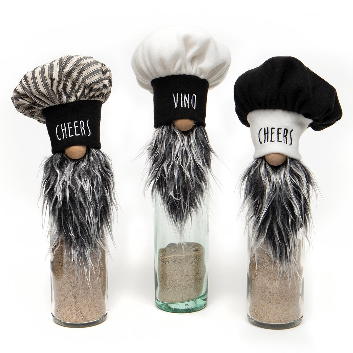 BON APPETIT TRIO GNOME BOTTLE TOPPER WITH CHEF HAT