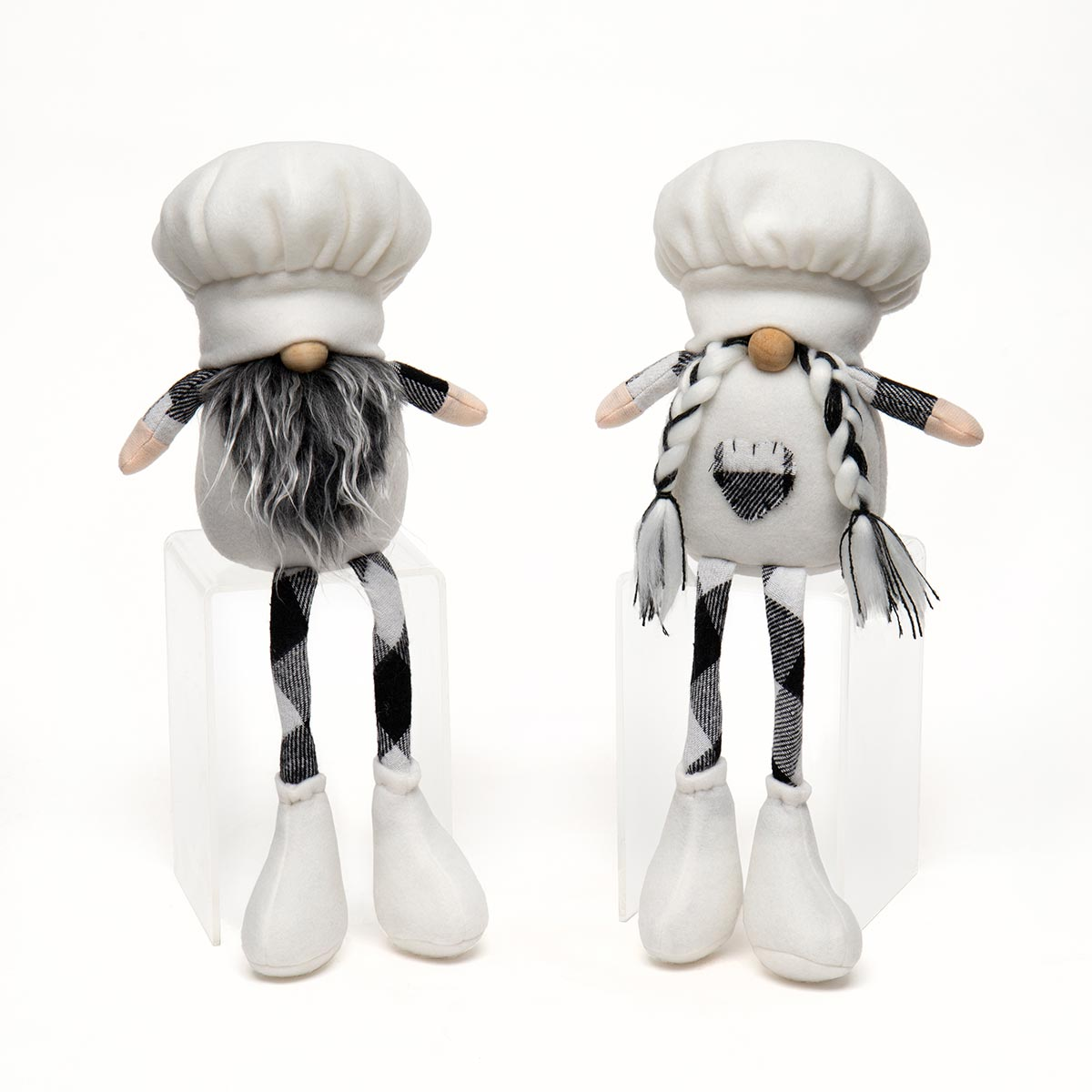 BON APPETIT COUPLE GNOME WITH WHITE CHEF HAT, WOOD NOSE,