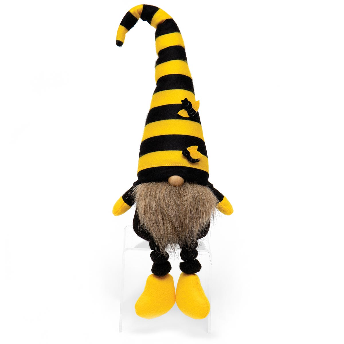 HUMBLE BEE GNOME WITH YELLOW/BLACK STRIPED BEE HAT, WOOD NOSE,
