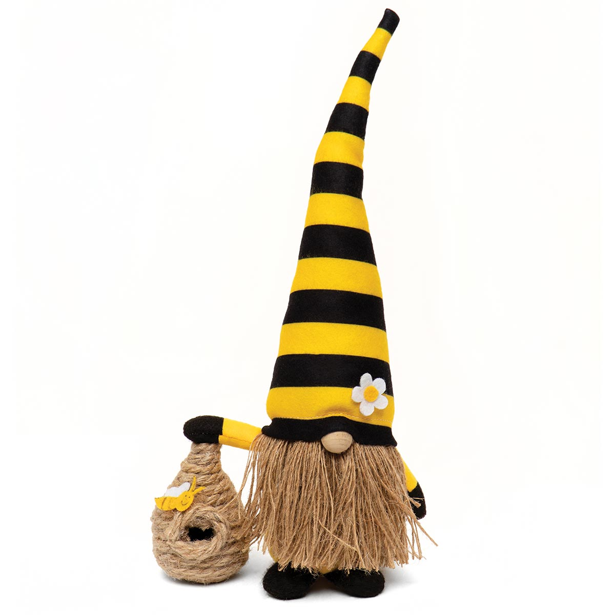 HUMBLE BEE GNOME HOLDING A BEE SKEP WITH YELLOW/BLACK STRIPED BE