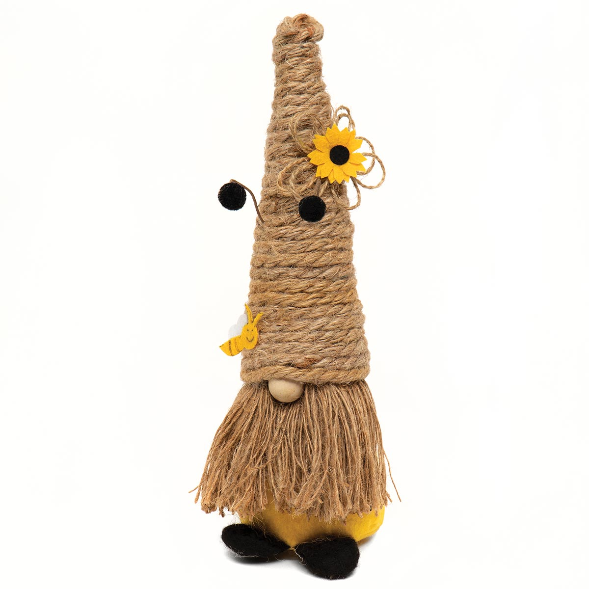 HUMBLE GNOME WITH JUTE BEE SKEP HAT, ANTENNA, WOOD NOSE AND