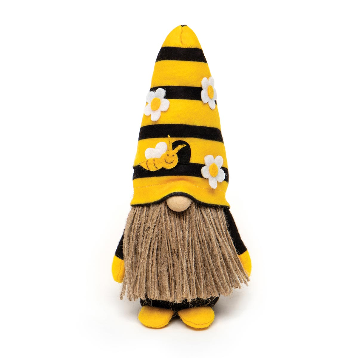 HUMBLE BEE GNOME WITH YELLOW/BLACK STRIPED BEEHIVE HAT, WOOD NOS