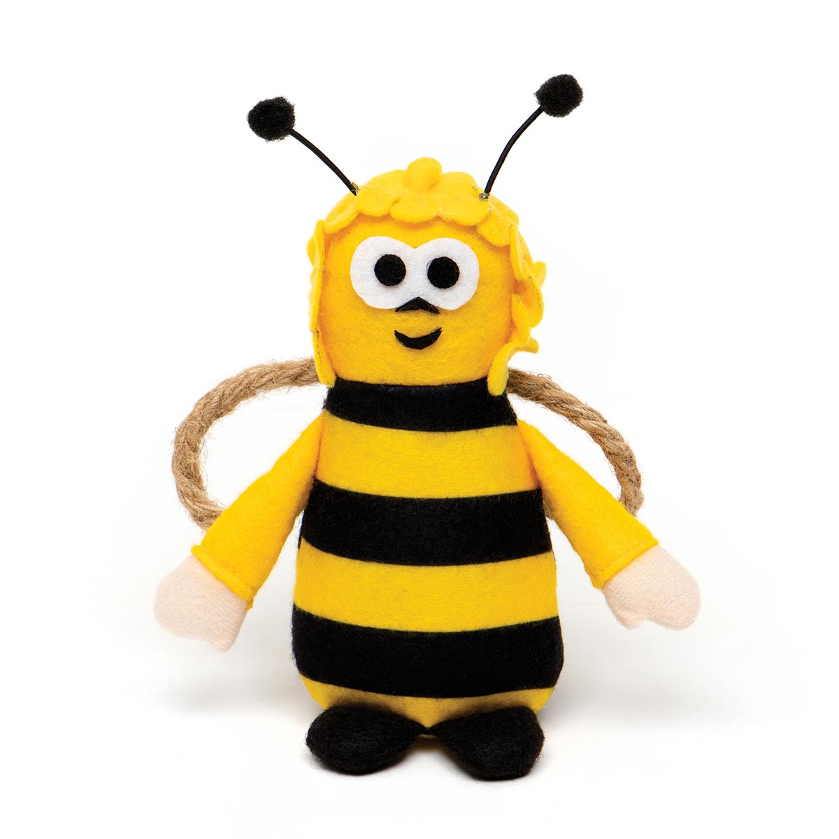 "HUMBLE BUMBLE BEE WITH ANTENNA, ARMS, ROPE WINGS AND FEET 6""x3.5"
