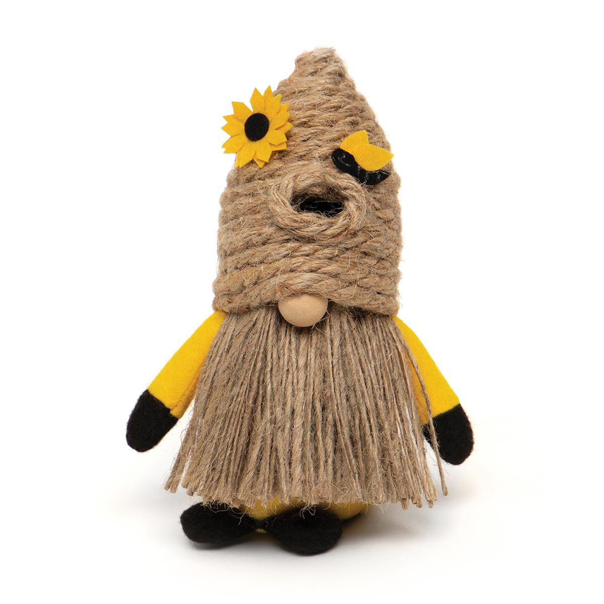 HUMBLE BEE GNOME WITH BEE SKEP HAT, WOOD NOSE, JUTE BEARD AND FE