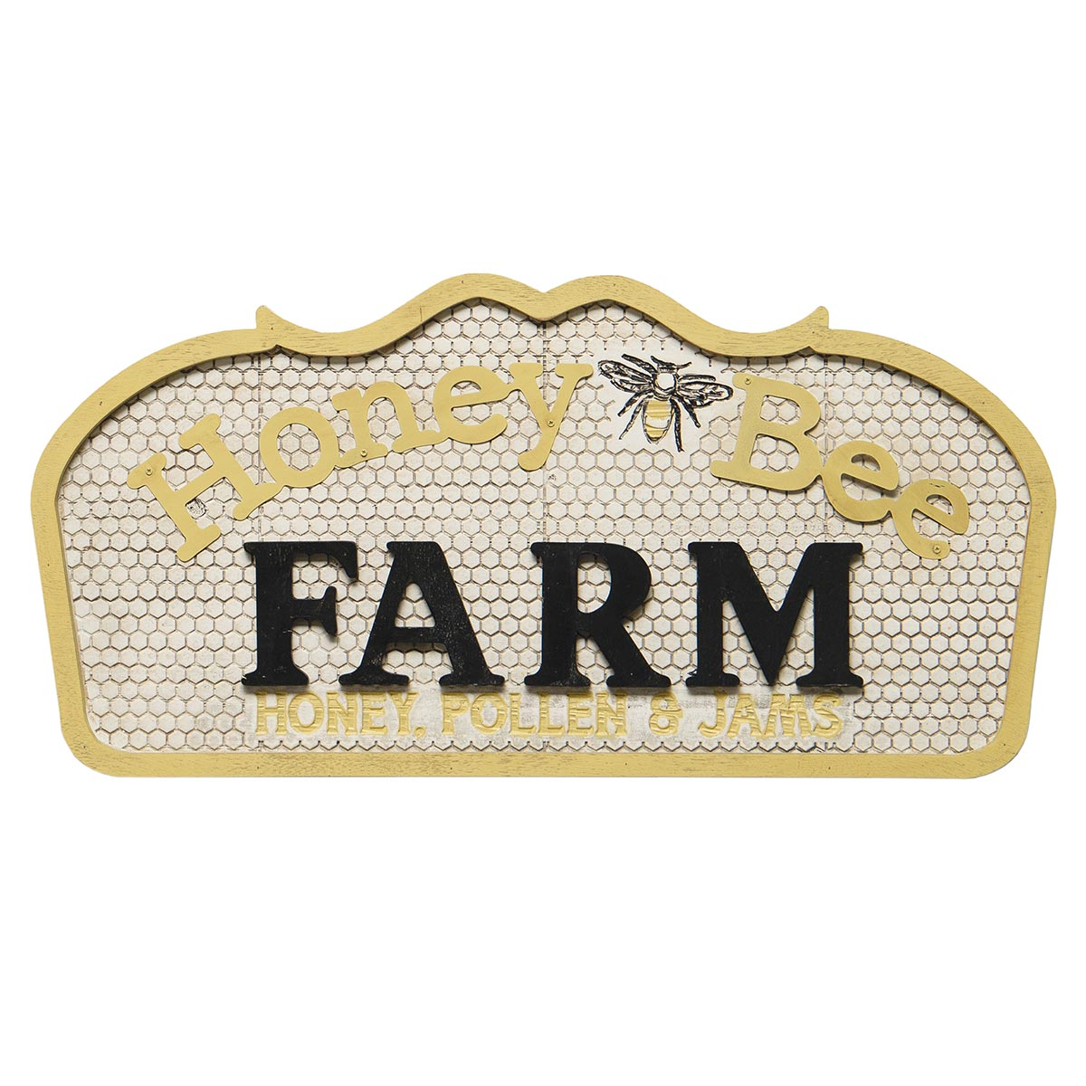 HONEY BEE FARM HONEY POLLEN & JAMS WOOD & METAL SIGN YELLOW,