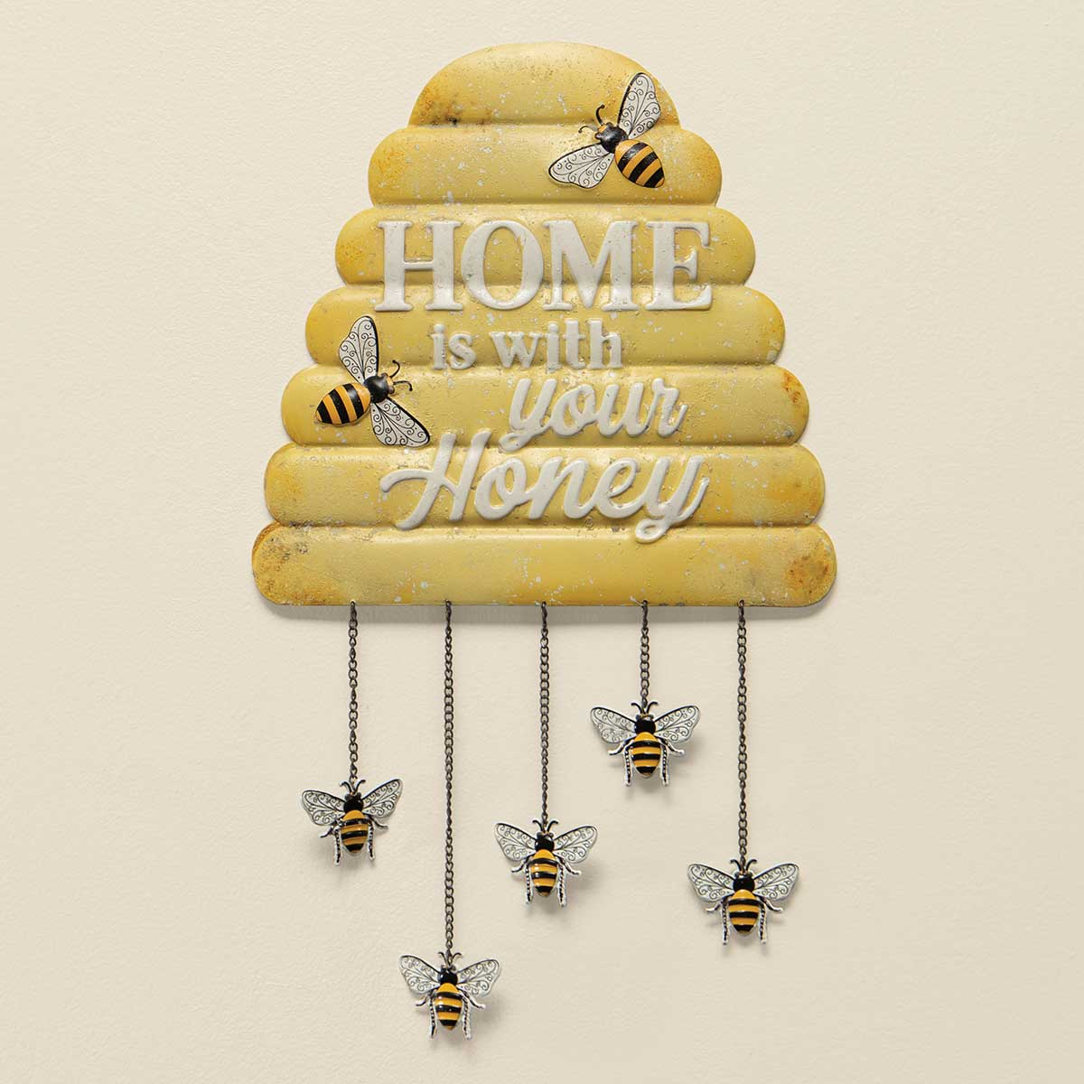 HOME IS W/YOUR HONEY METAL SIGN YELLOW WITH 5 METAL BEE CHIMES