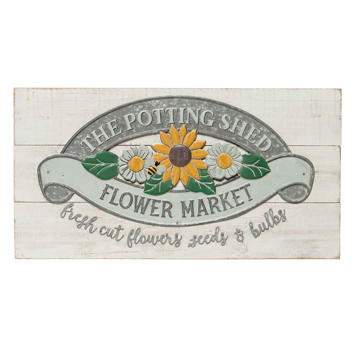 THE POTTING SHED FLOWER MARKET WOOD & METAL SIGN WHITE WITH