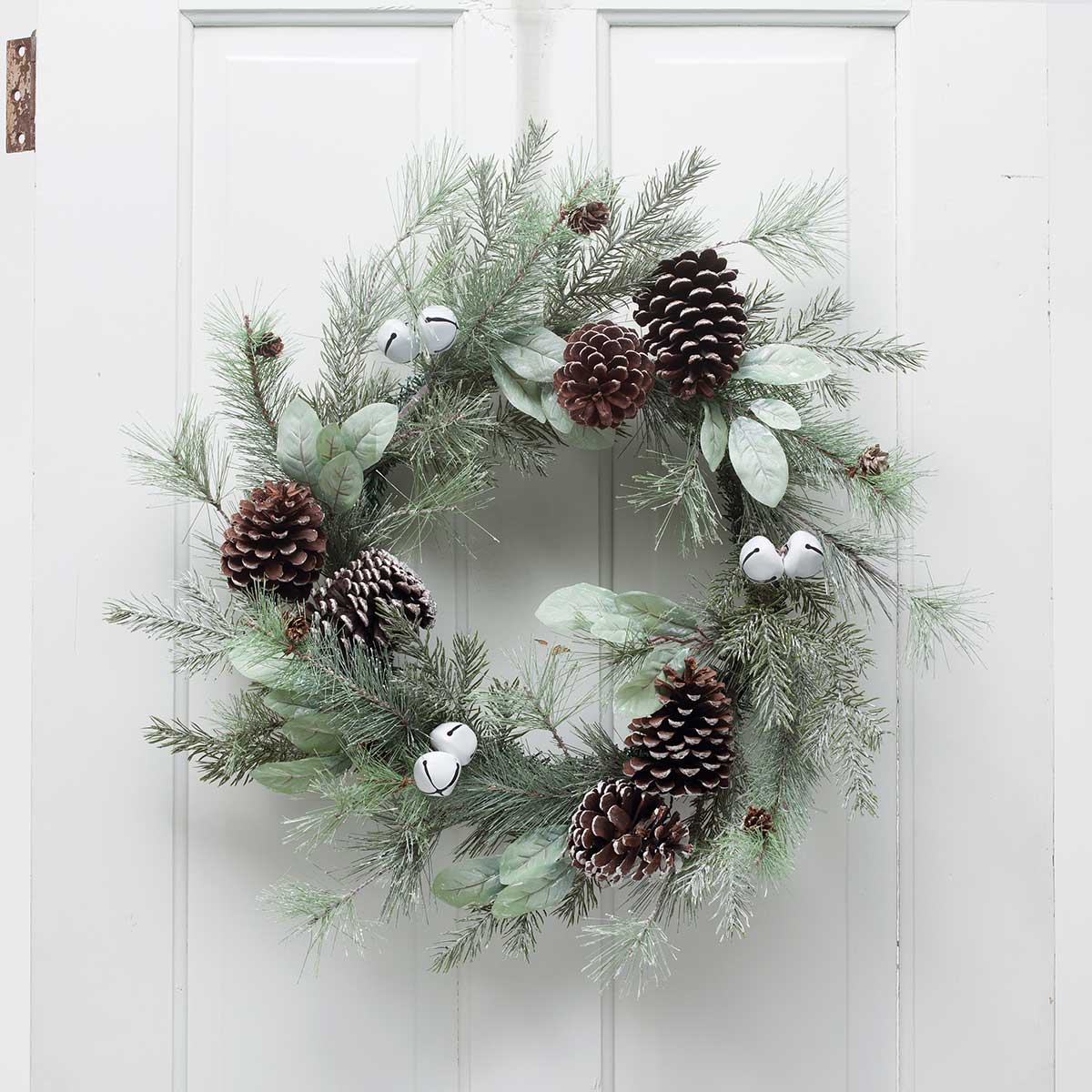 "WINTER CHARM MIXED PINE FOLIAGE BELL WREATH/INSIDE 12""/OUTSIDE 2"