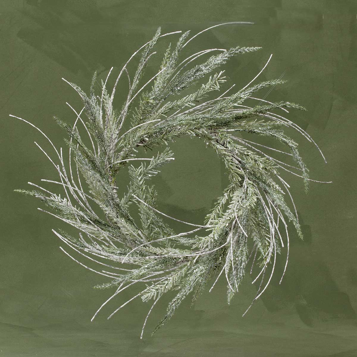 "SPARKLE PINE AND BIRCH WHITE WIRED FAUX TWIG 26"" WREATH (11"" inn"
