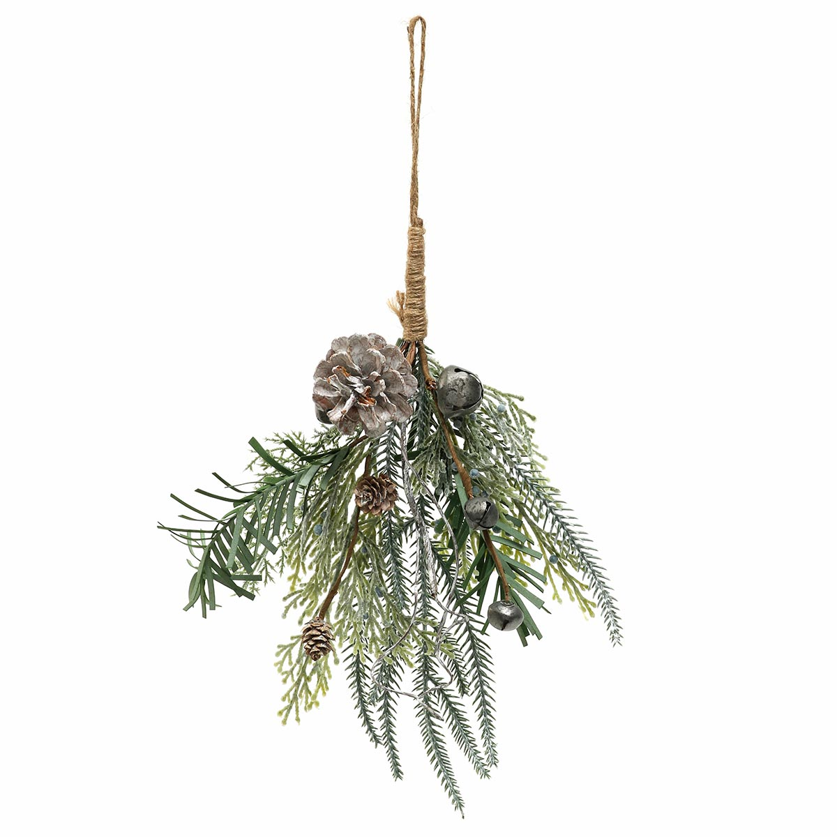 PEWTER BELLS MIXED PINE WITH PINECONES AND JUNIPERS BERRIES ORNA