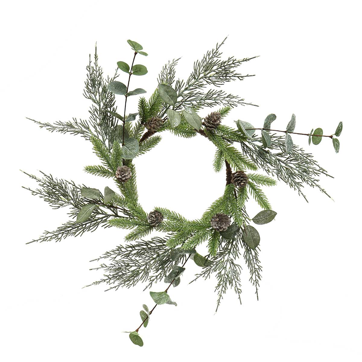 "SPRKLE FRESH CUT EUCALYPTU, PRIVET AND PINE WREATH 17""/INNER R"