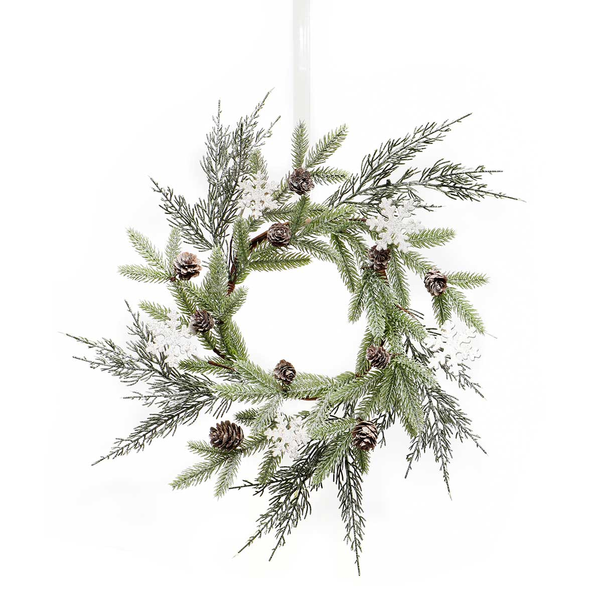 "NORTHERN PINE WREATH WITH MICA, SNOWFLAKES AND PINECONES 17""/7"""