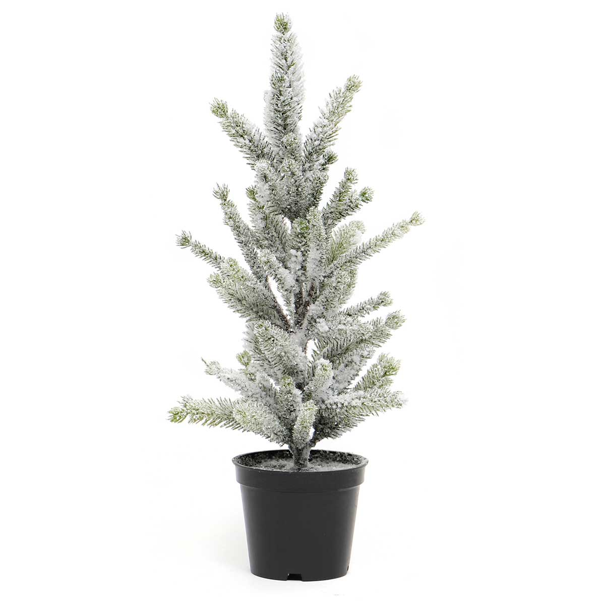 "FIR SPRUCE TREE WITH SNOW 5""X13.5""IN BLACK PLASTIC POT"