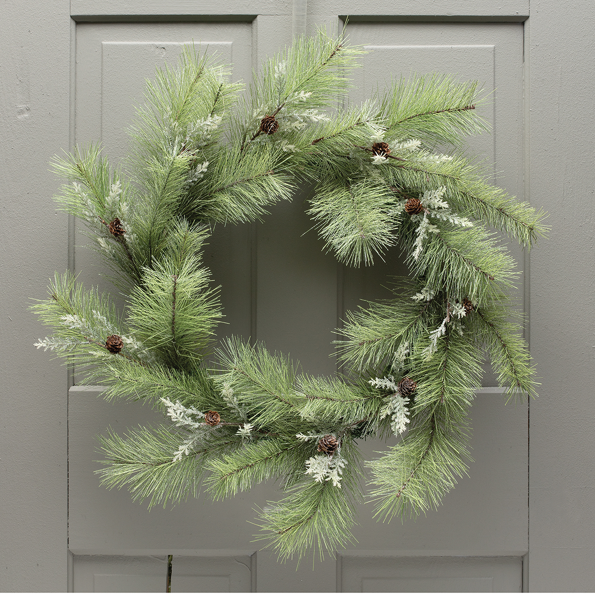 PINE WREATH WITH MINI PINECONES,