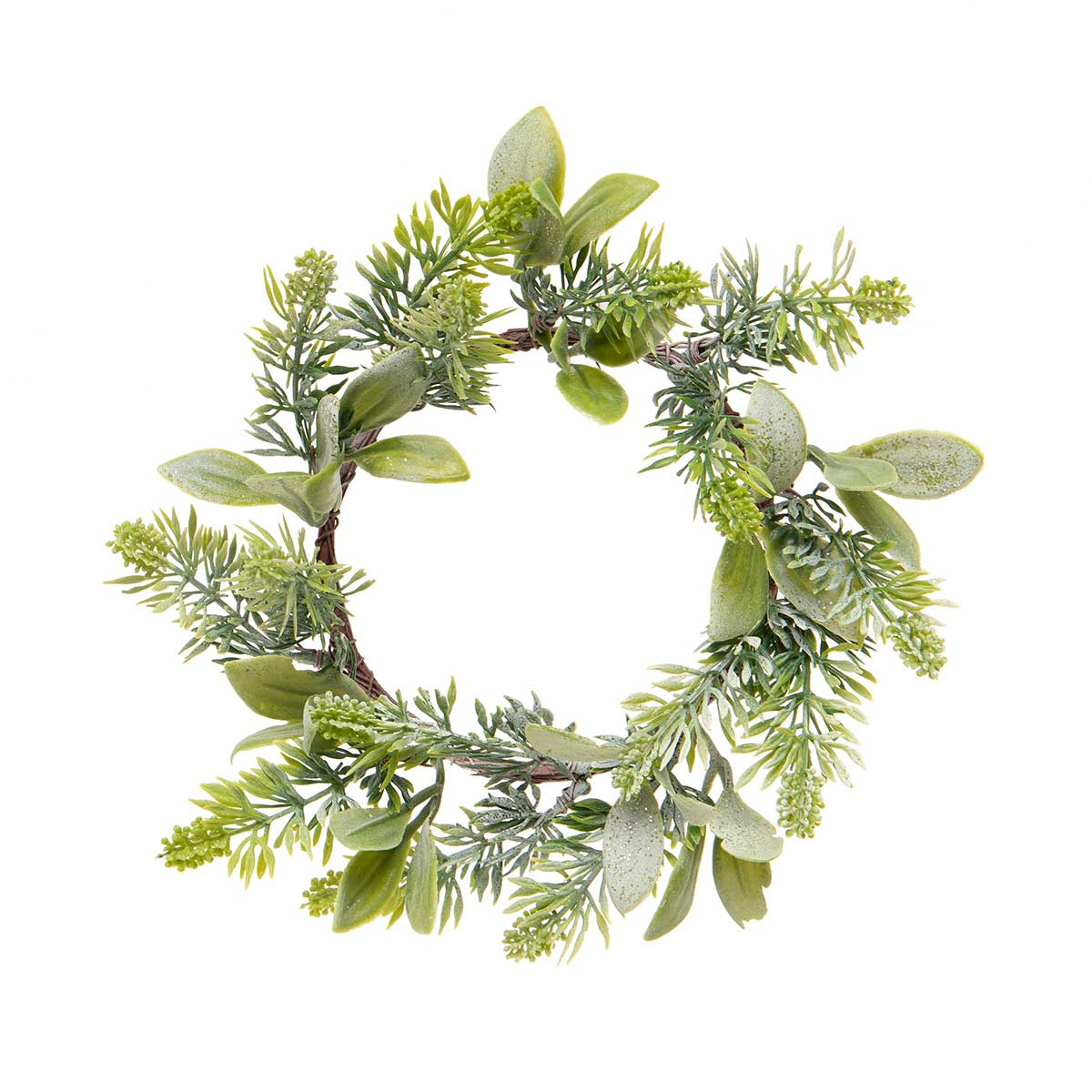 LAUREL PINE MINI WREATH WITH GLITTER