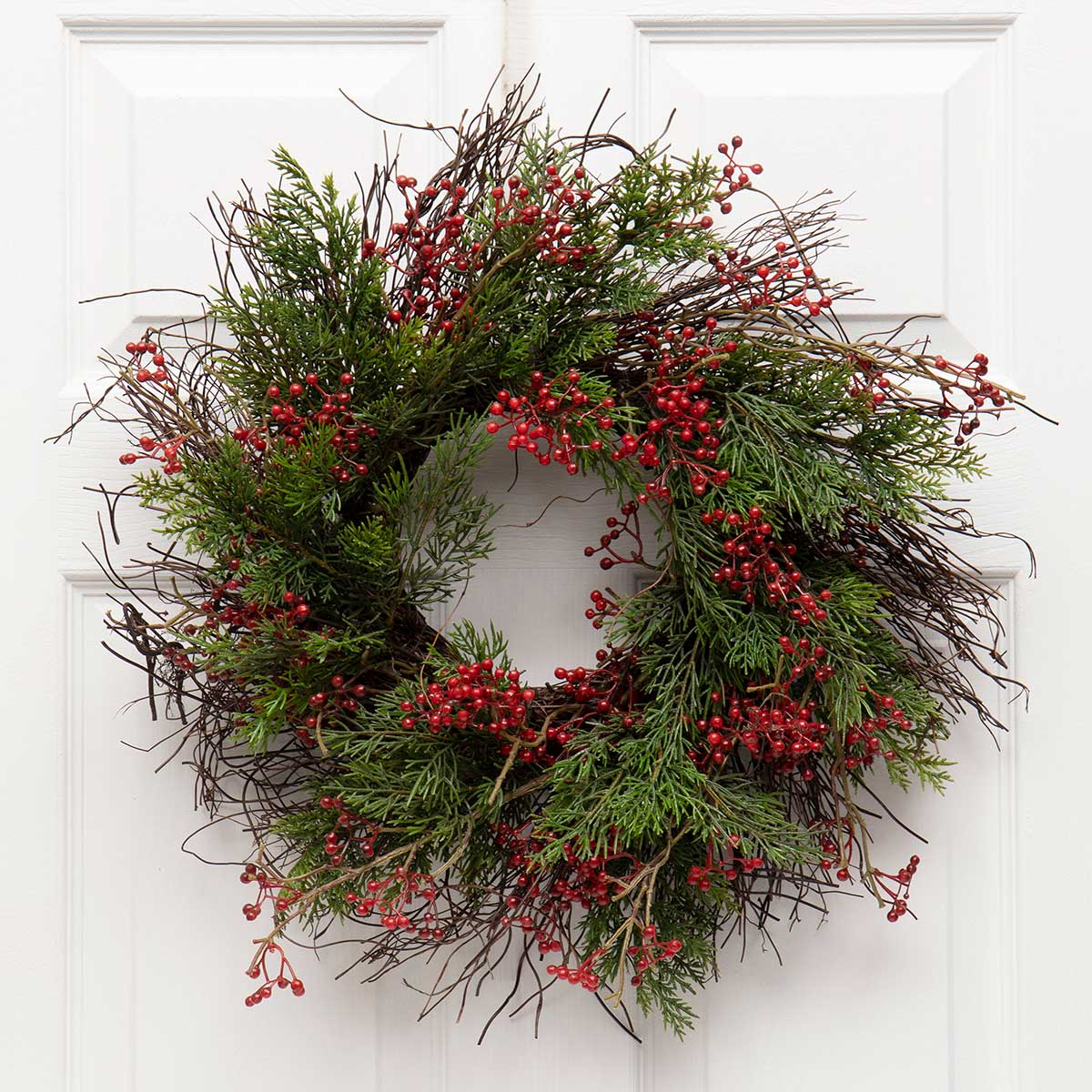 PINE & RED BERRY WREATH WITH TWIG
