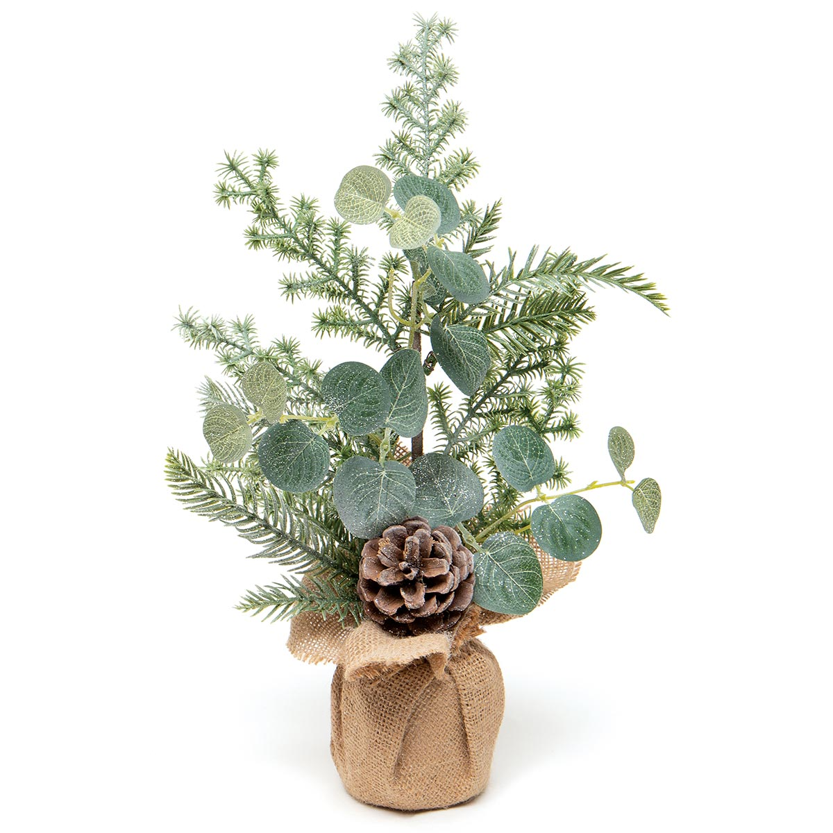FROSTED PINE MINI TREE IN BURLAP BASE WITH EUCALYPTUS