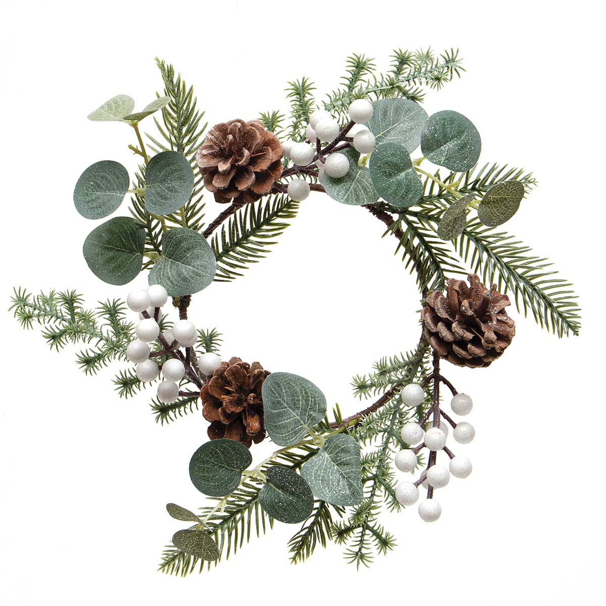 WINTER BERRY CANDLE RING WITH WHITE BERRIES, PINE