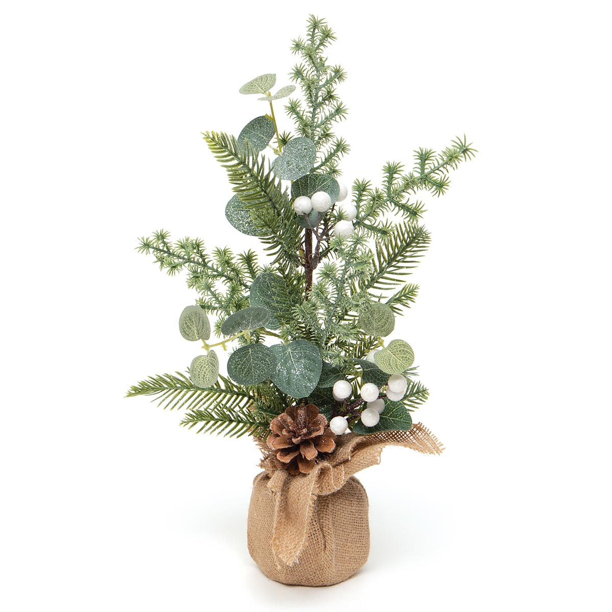 WINTER BERRY MINI TREE IN BURLAP BASE WITH WHITE BERRIES