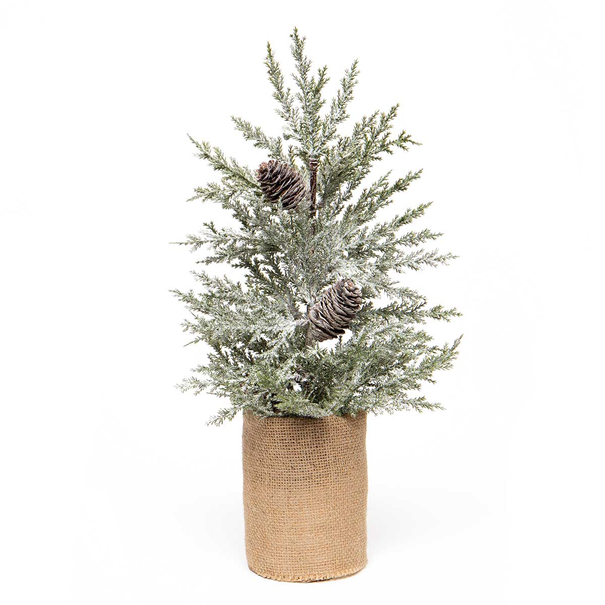 EVERGREEN PINE TREE IN BURLAP BASE WITH SNOW AND PINECONES
