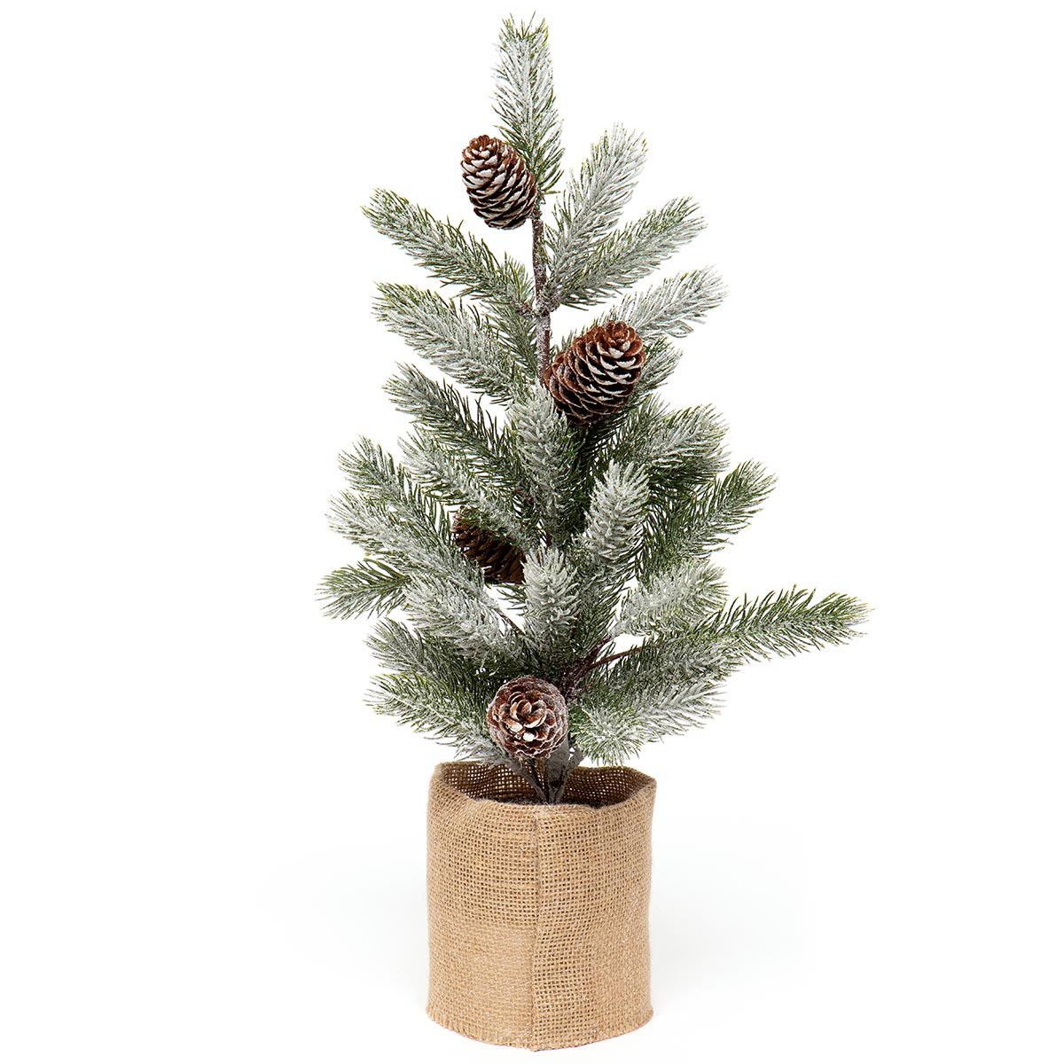 SPRUCE PINE TREE IN BURLAP BASE WITH SNOW AND PINECONES