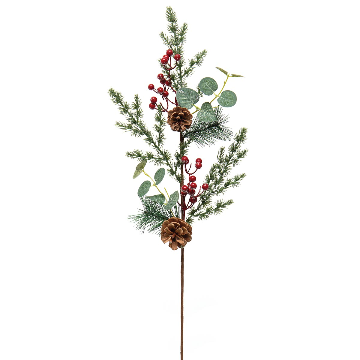 DECEMBER PINE SPRAY WITH RED BERRIES, EUCALYPTUS, MICA AND