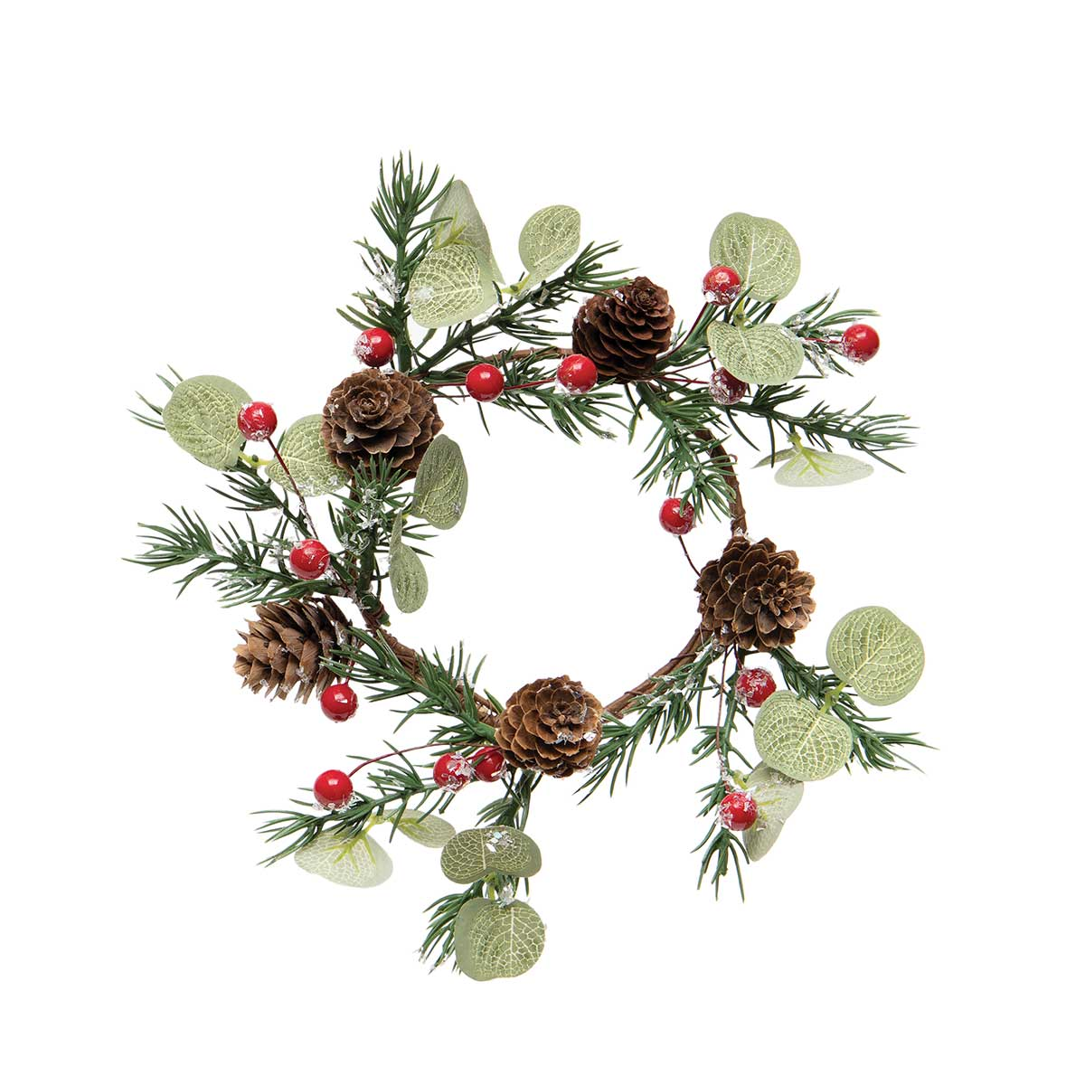 DECEMBER PINE CANDLE RING/MINI WREATH WITH RED BERRIES