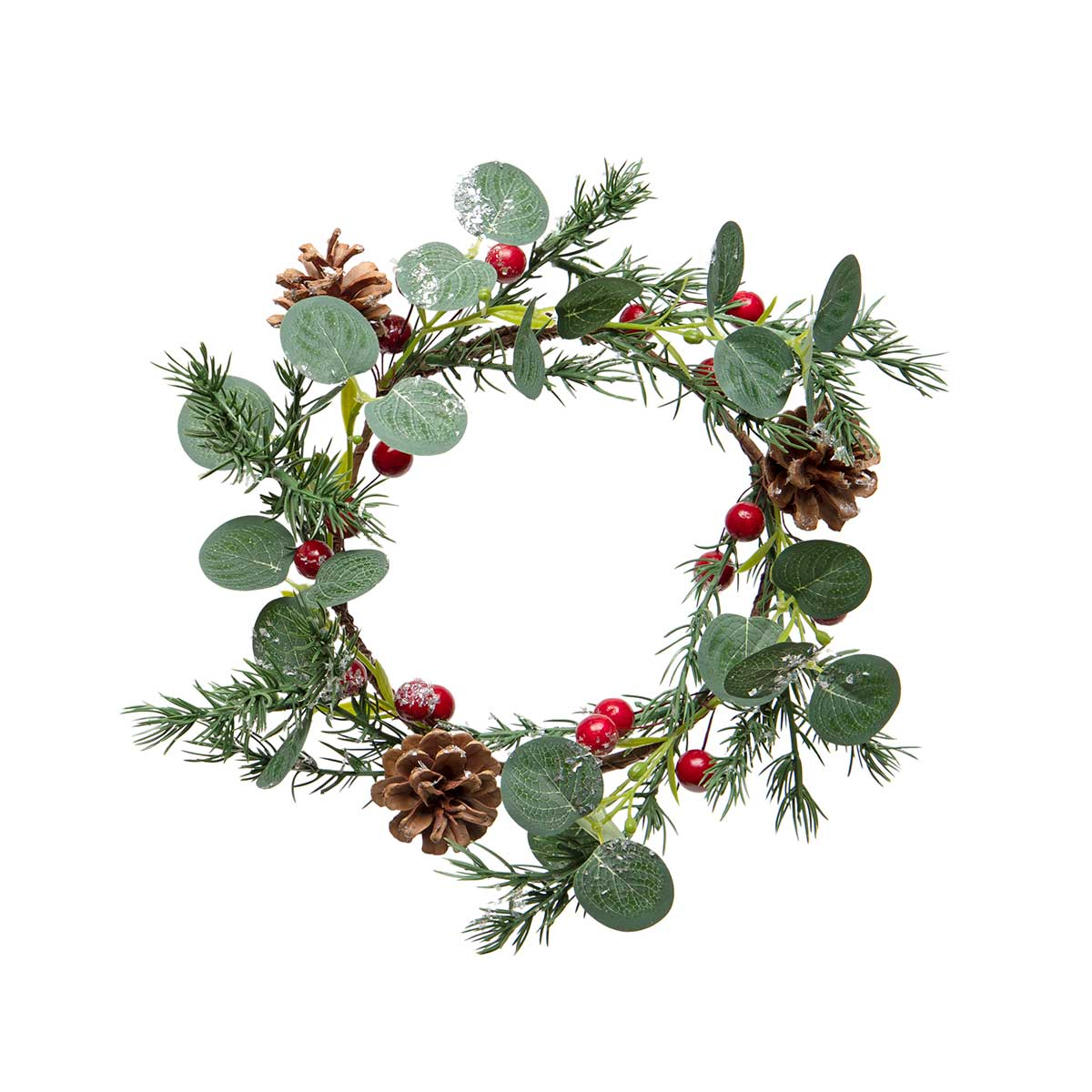 DECEMBER PINE WREATH WITH RED BERRIES, EUCALYPTUS, MICA
