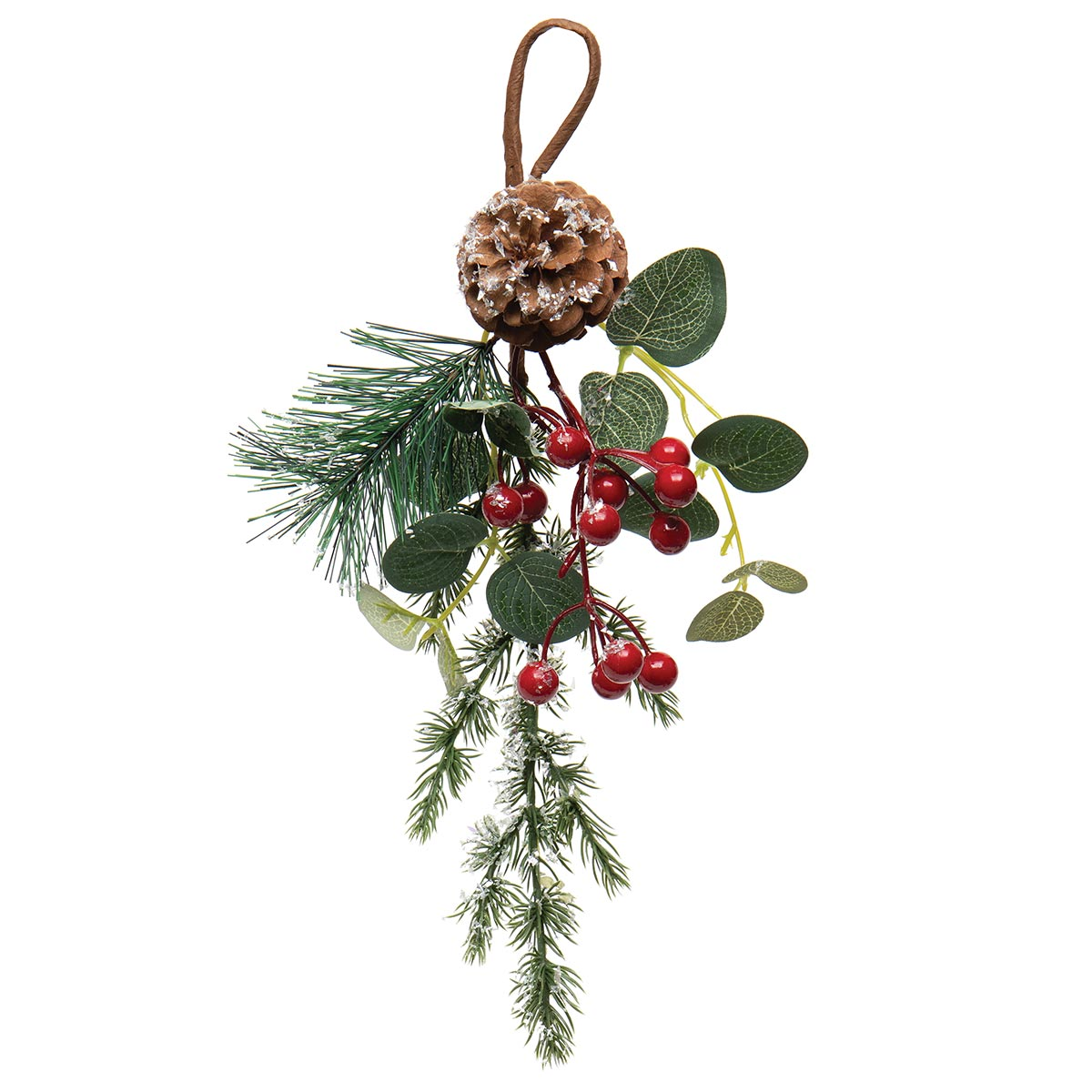 DECEMBER PINE DROP WITH RED BERRIES, EUCALYPTUS, MICA AND