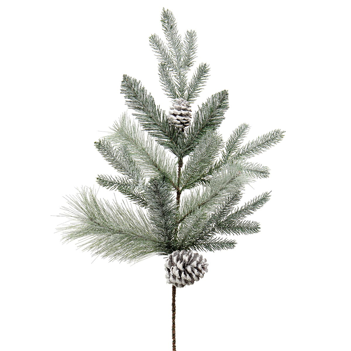 MAJESTIC FROSTED PINE SPRAY GREEN WITH PINECONES AND