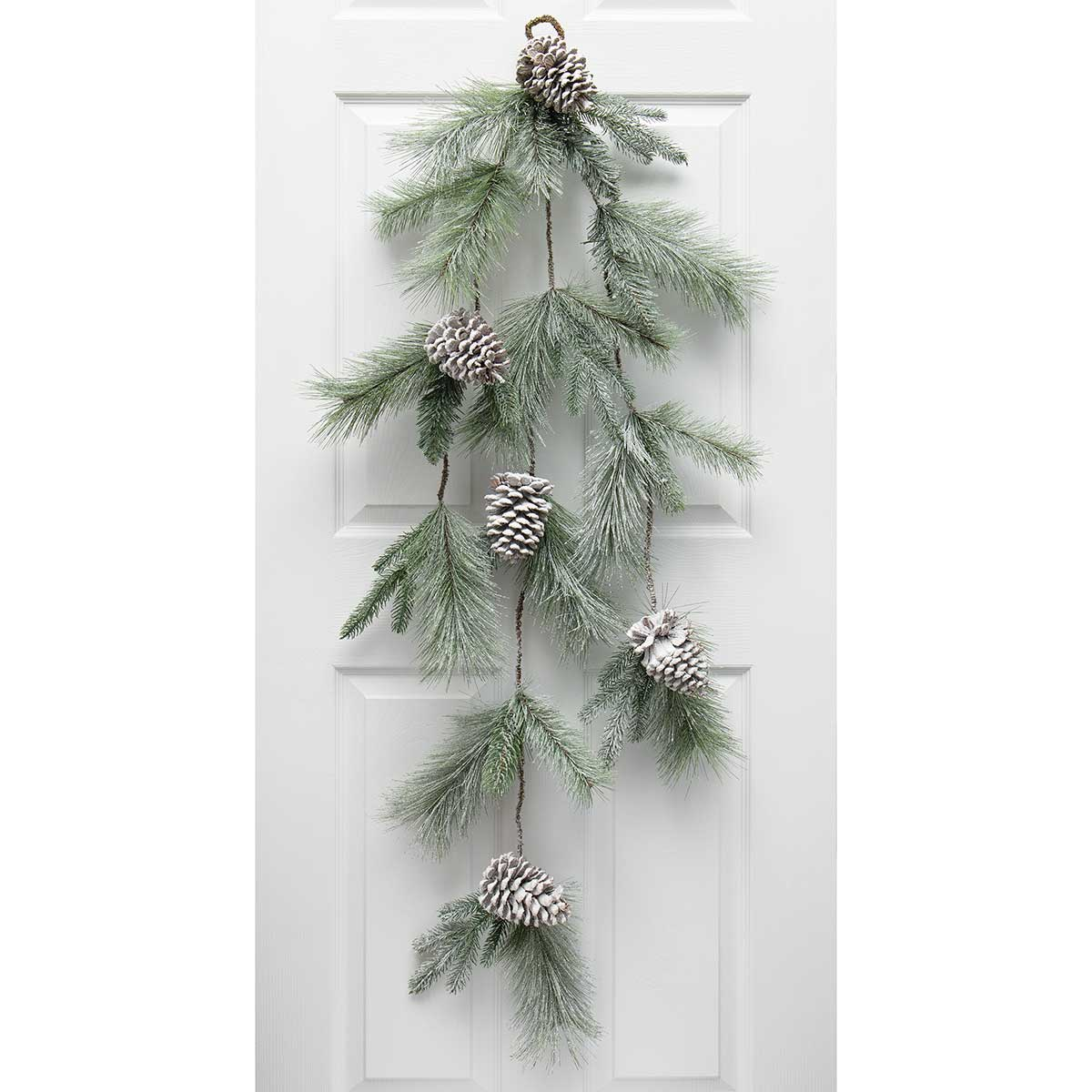 MAJESTIC FROSTED PINE CASCADE GREEN WITH PINECONES AND