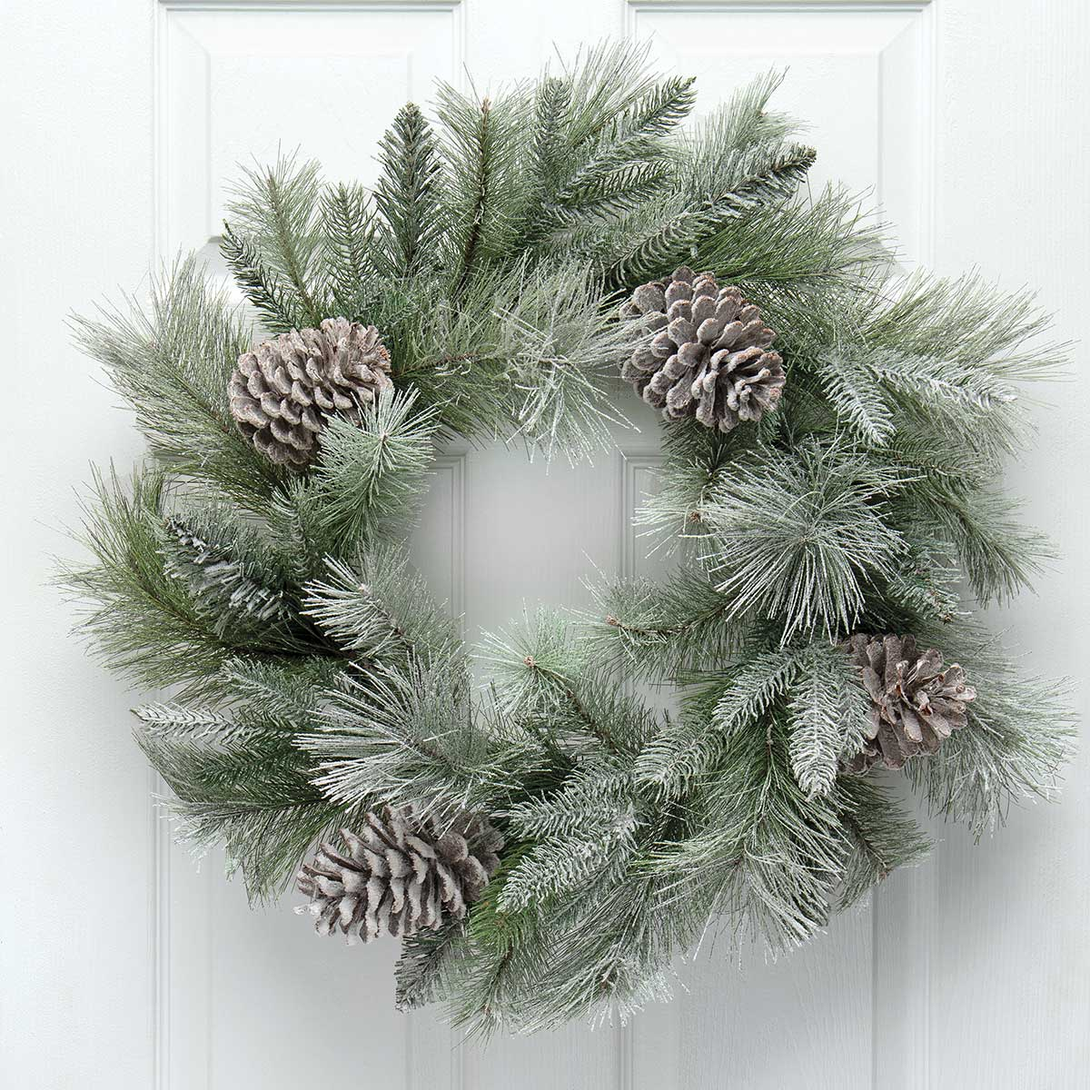 MAJESTIC FROSTED PINE WREATH GREEN WITH PINECONES AND