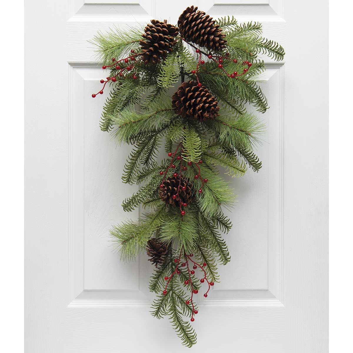NATURAL MIX PINE BOUGH GREEN WITH RED BERRIES AND