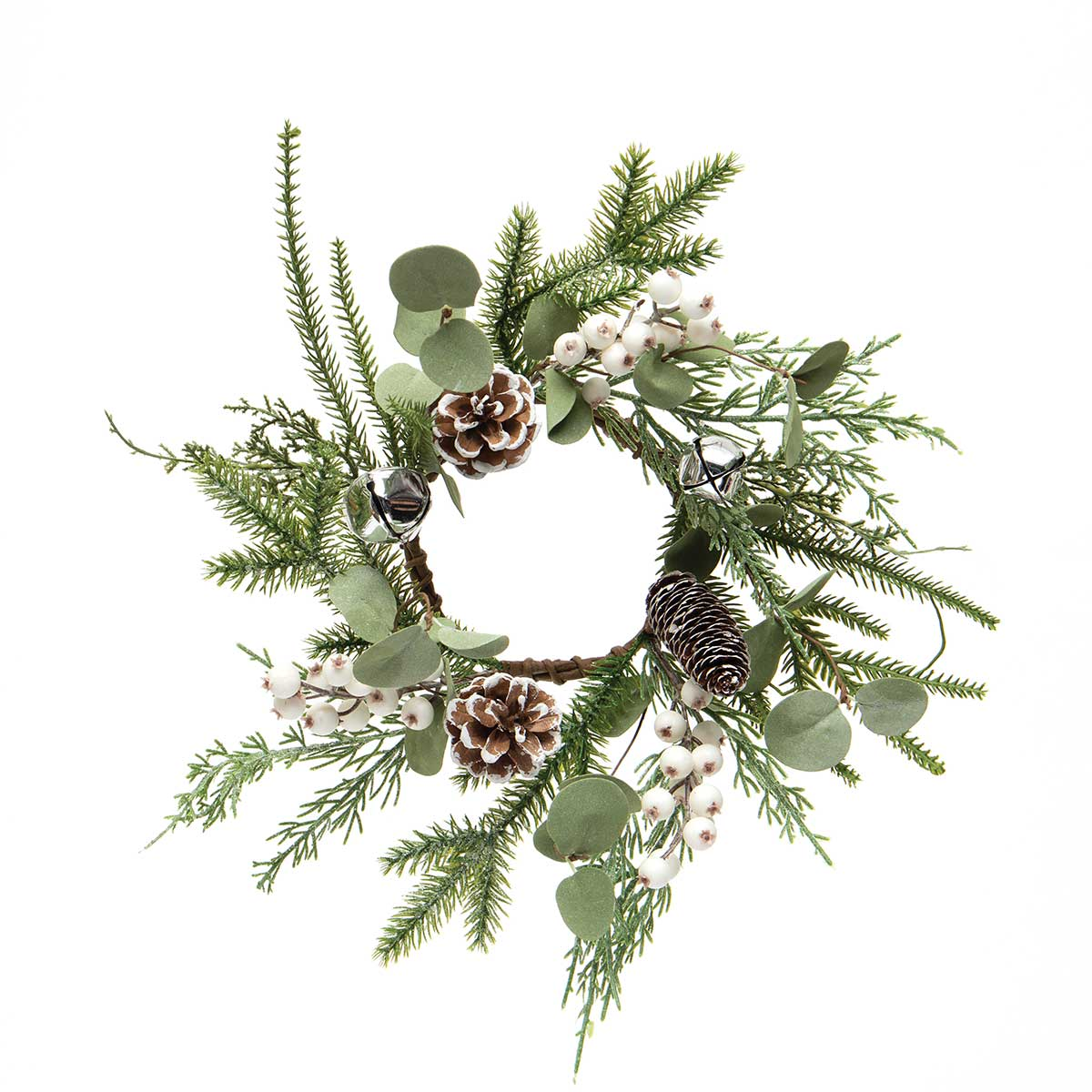 SLEIGH BELL MINI WREATH/CANDLE RING WITH EUCALYPTUS, PINE