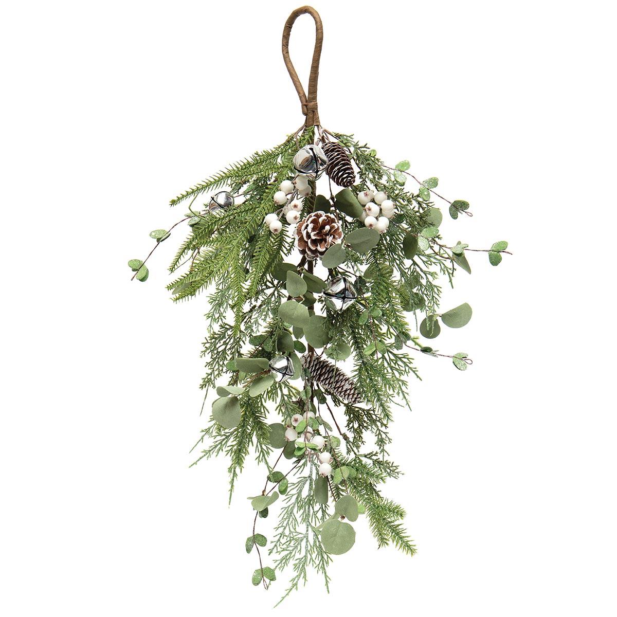 SLEIGH BELL BOUGH WITH EUCALYPTUS, PINE, JINGLE BELLS
