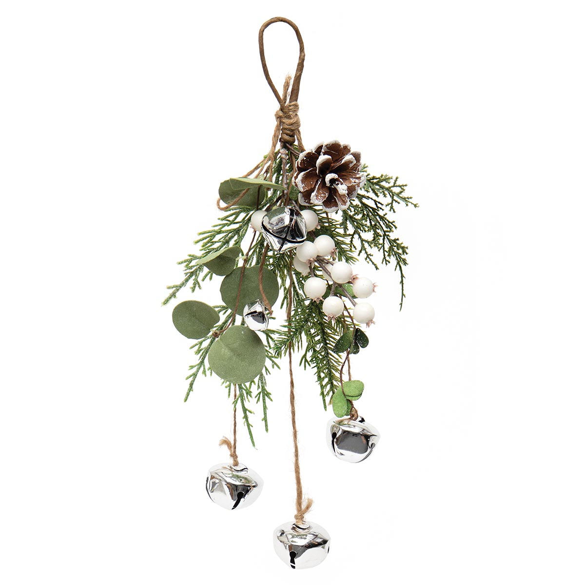 SLEIGH BELL DROP WITH EUCALYPTUS, PINE, JINGLE BELLS, GLITTER