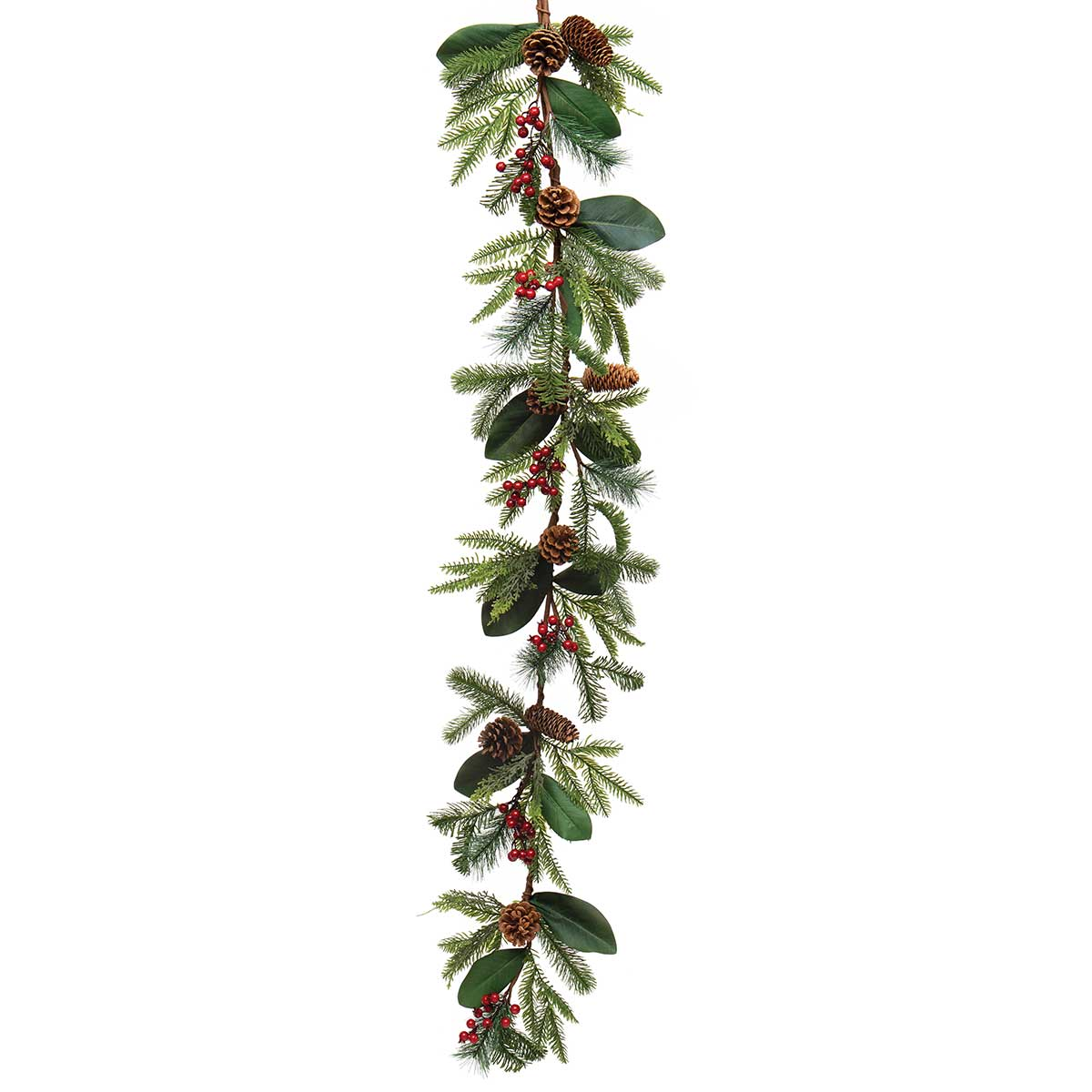 SOUTHERN HOLIDAY PINE GARLAND WITH MAGNOLIA LEAVES, RED