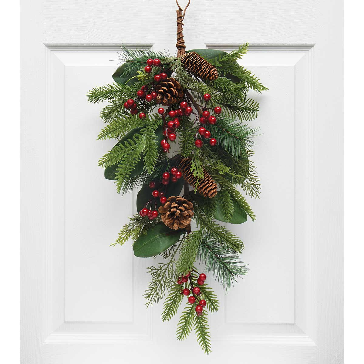 SOUTHERN HOLIDAY PINE BOUGH WITH MAGNOLIA LEAVES, RED