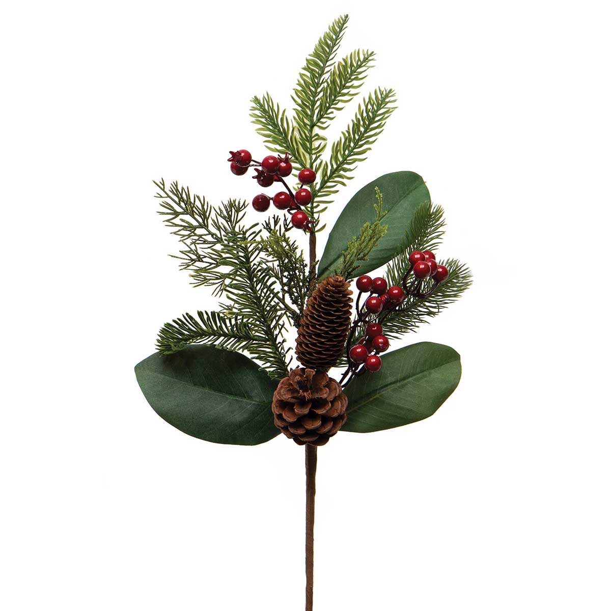 SOUTHERN HOLIDAY PINE SPRAY WITH MAGNOLIA LEAVES, RED