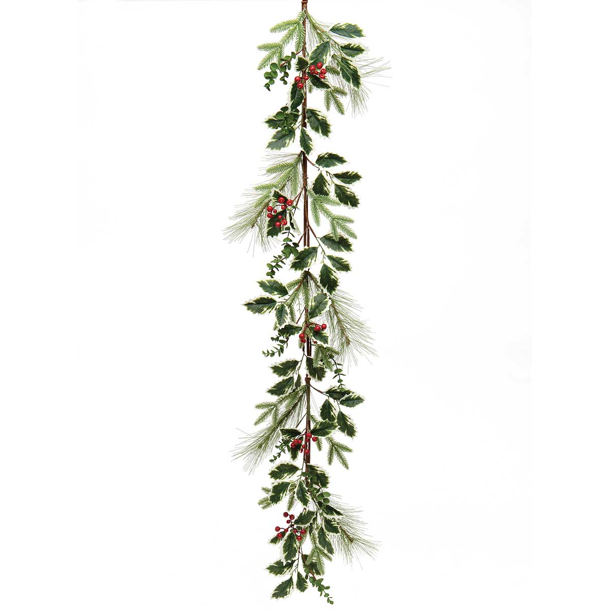 FRESH VARIEGATED HOLLY GARLAND WITH PINE,RED BERRIES,EUCALYPTUS
