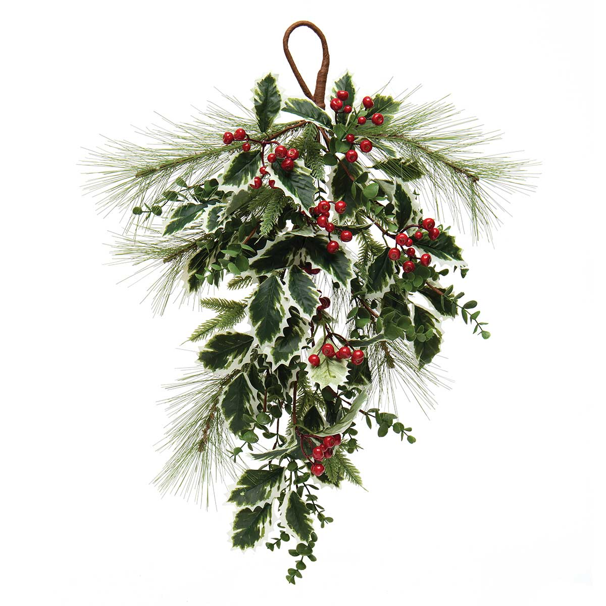 FRESH VARIEGATED HOLLY BOUGH WITH PINE, RED BERRIES, EUCALYPTUS