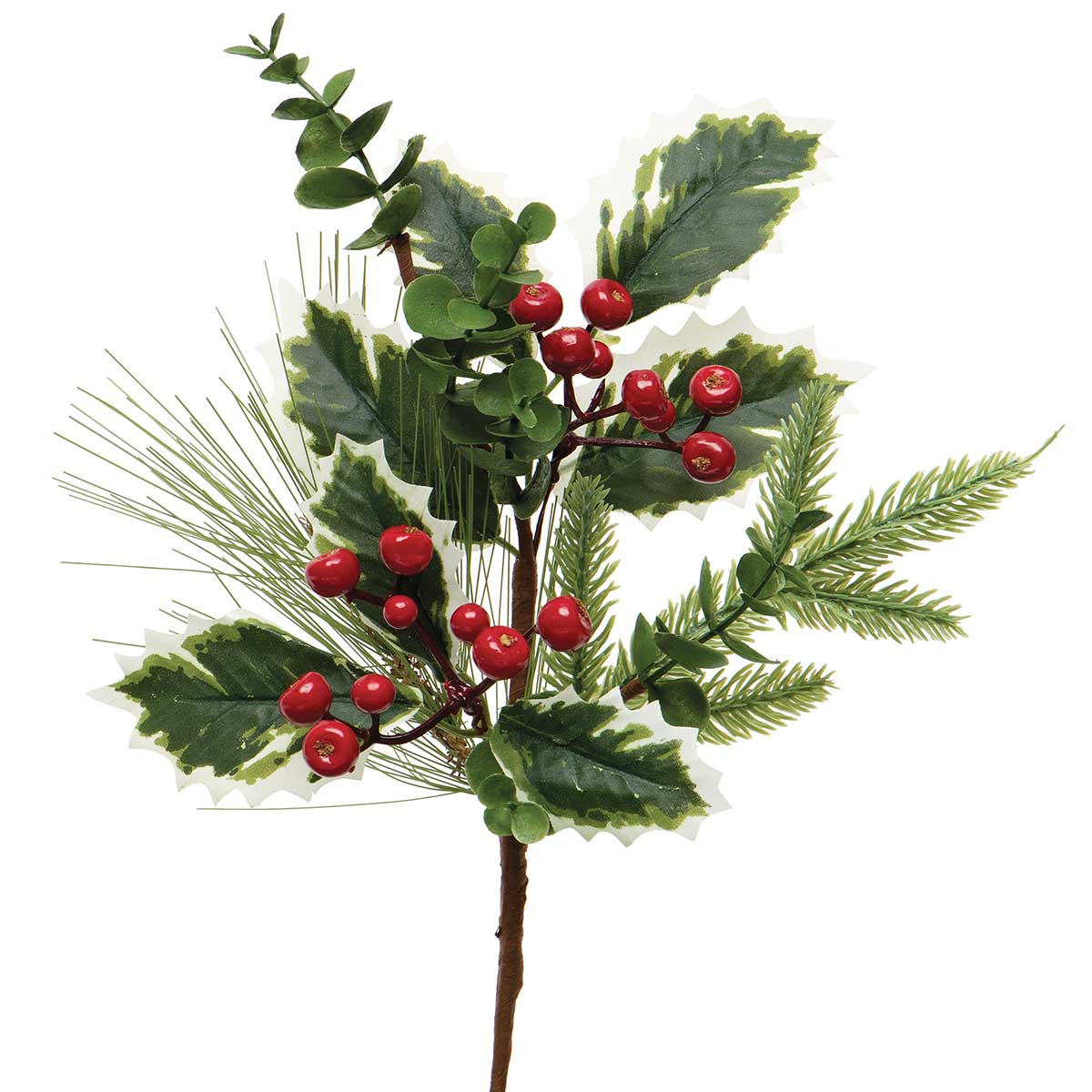 FRESH VARIEGATED HOLLY PIK WITH PINE, RED BERRIES AND