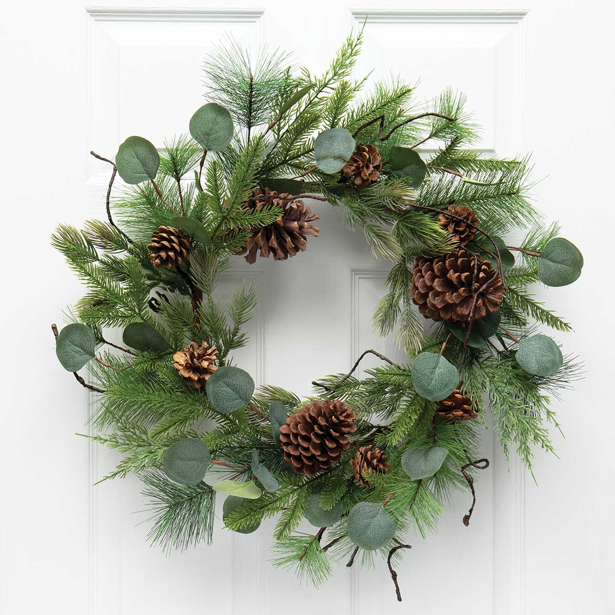 FRESH CUT PINE WREATH WITH EUCALYPTUS, FAUX TWIGS AND