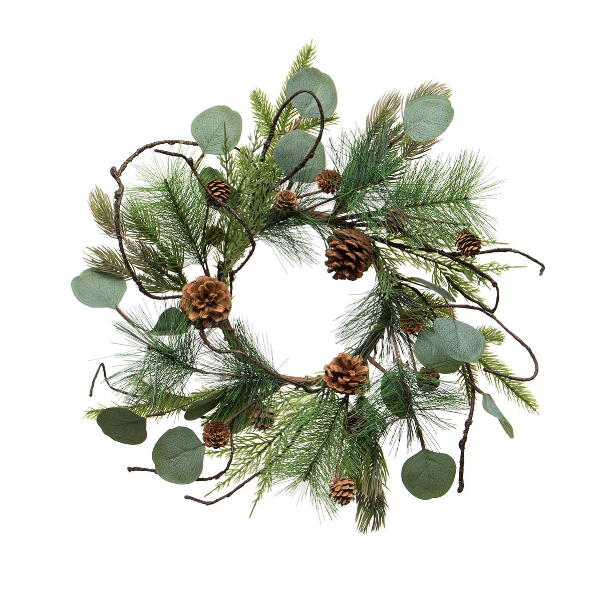FRESH CUT PINE MINI WREATH/CANDLE RING WITH EUCALYPTUS