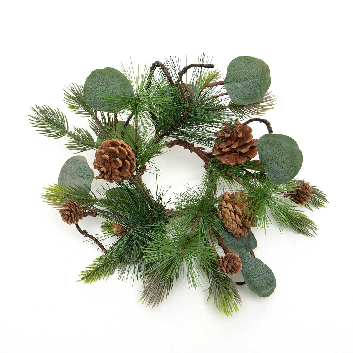 FRESH CUT PINE CANDLE RING WITH EUCALYPTUS, FAUX TWIGS