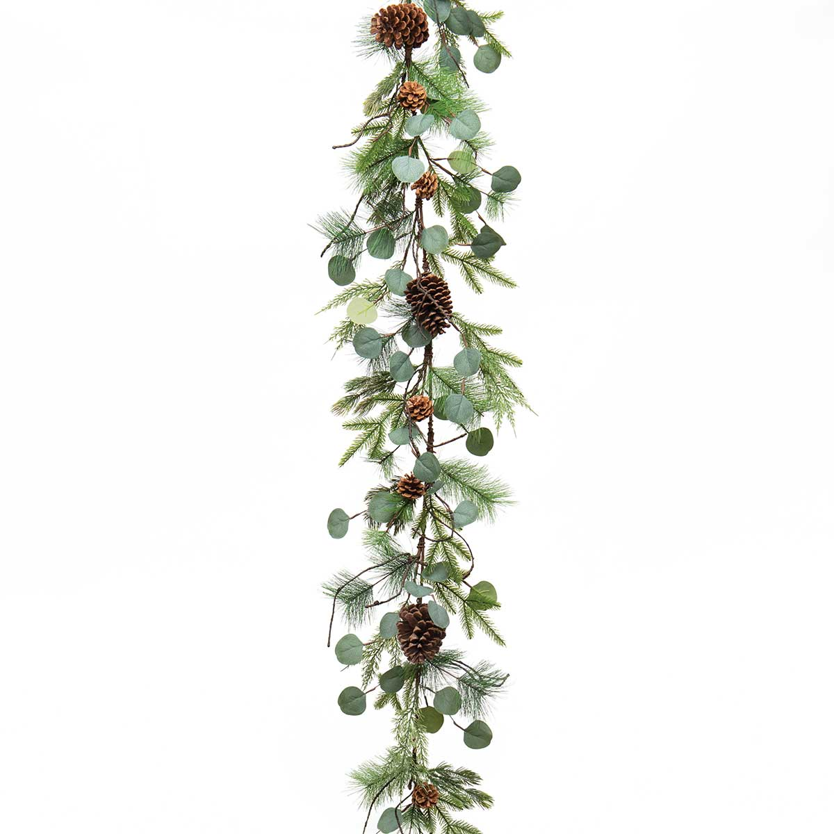 FRESH CUT PINE GARLAND WITH EUCALYPTUS, FAUX TWIGS AND