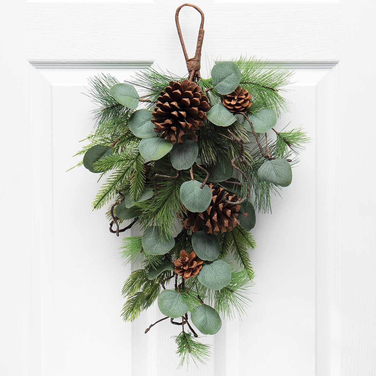 FRESH CUT PINE BOUGH WITH EUCALYPTUS, FAUX TWIGS AND