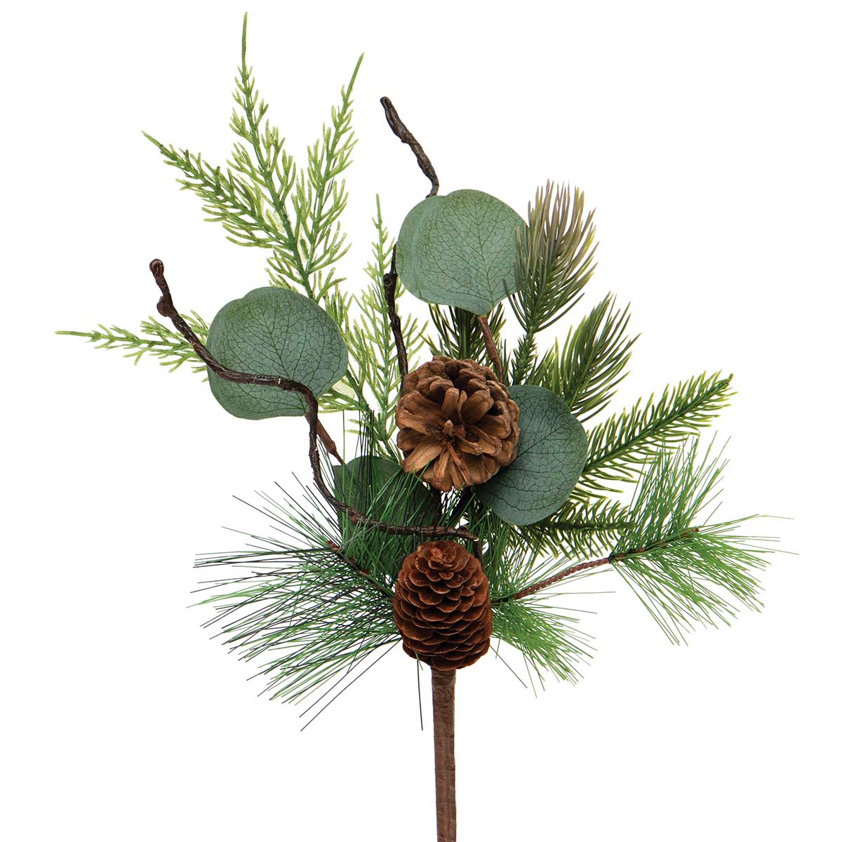 FRESH CUT PINE PIK WITH EUCALYPTUS, FAUX TWIGS AND