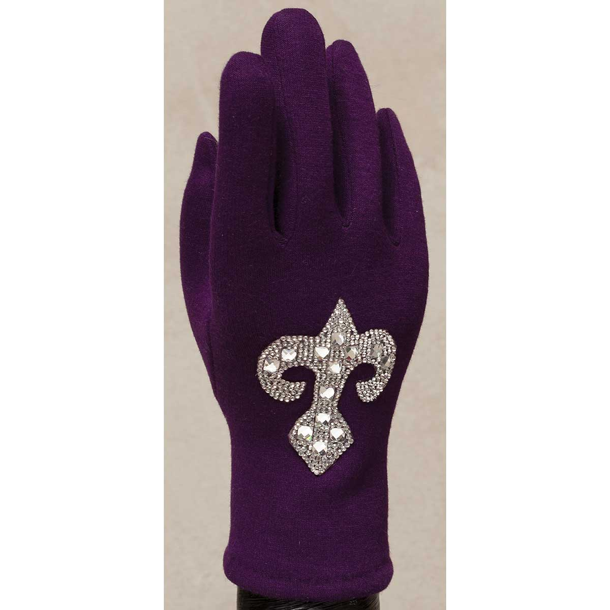 Purple Gloves with Crystal Fleur de Lis 50sp