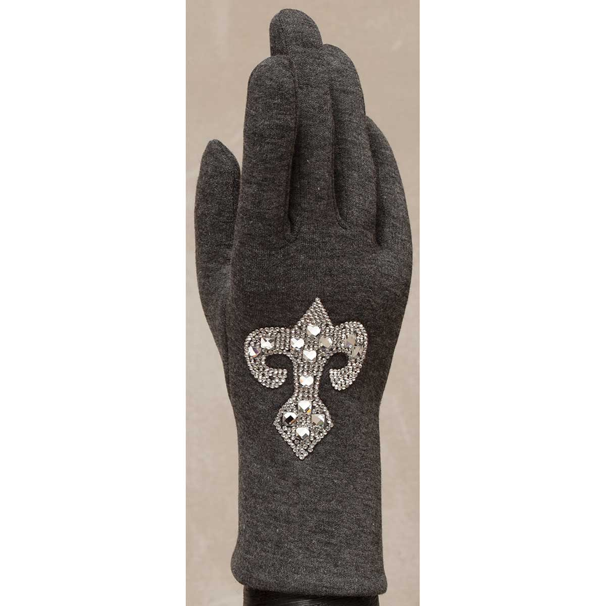 Gray Gloves with Crystal Fleur de Lis 50sp